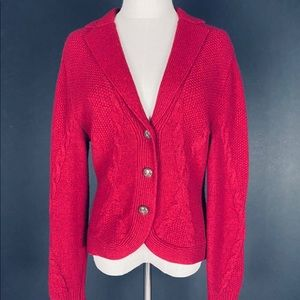 BCBG Red Cable Knit Cardigan Size S